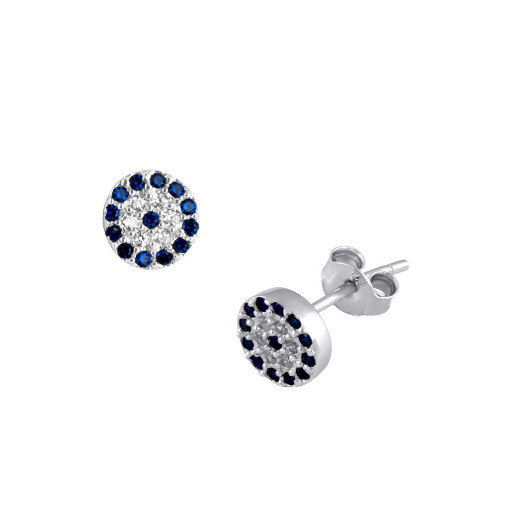 Sterling Silver White and Blue Cubic Zirconia Stud Earrings