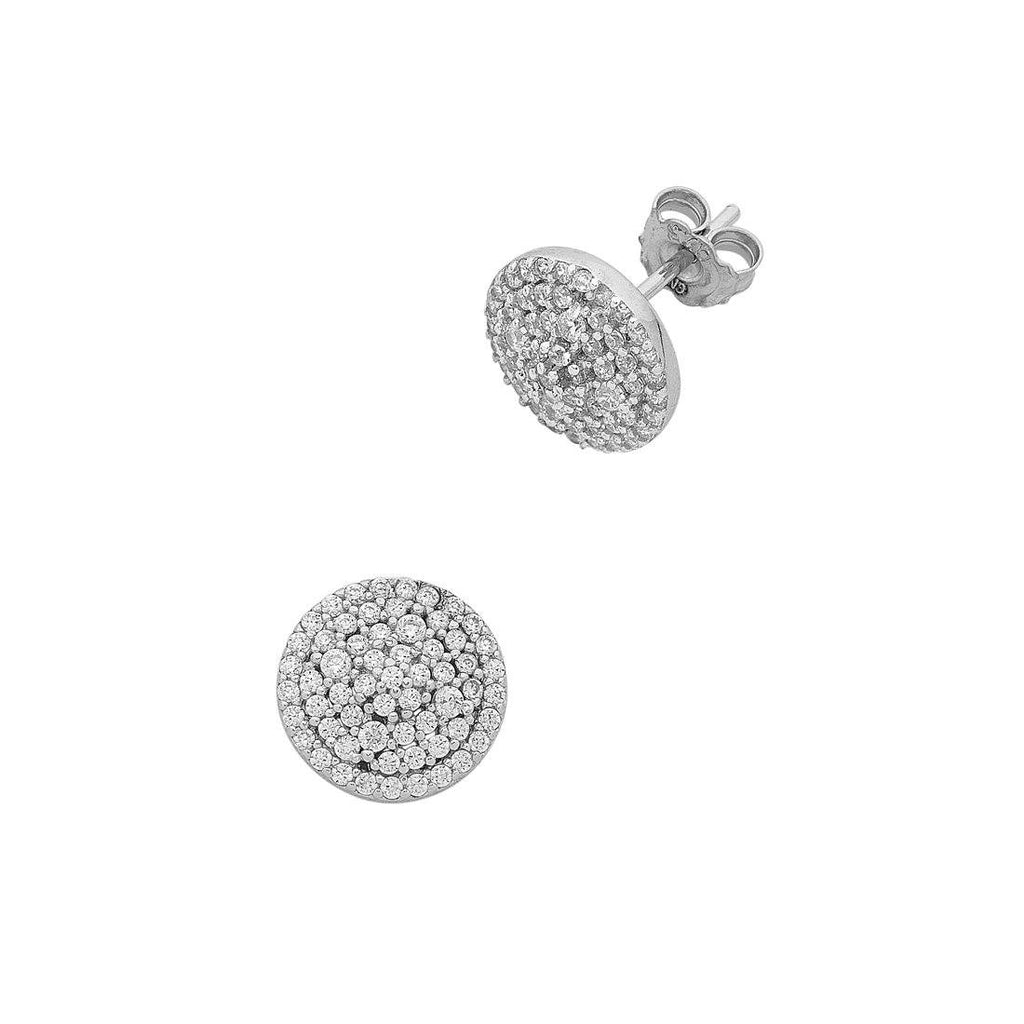 Sterling Silver Cubic Zirconia Triple Halo Earrings Earrings Bevilles