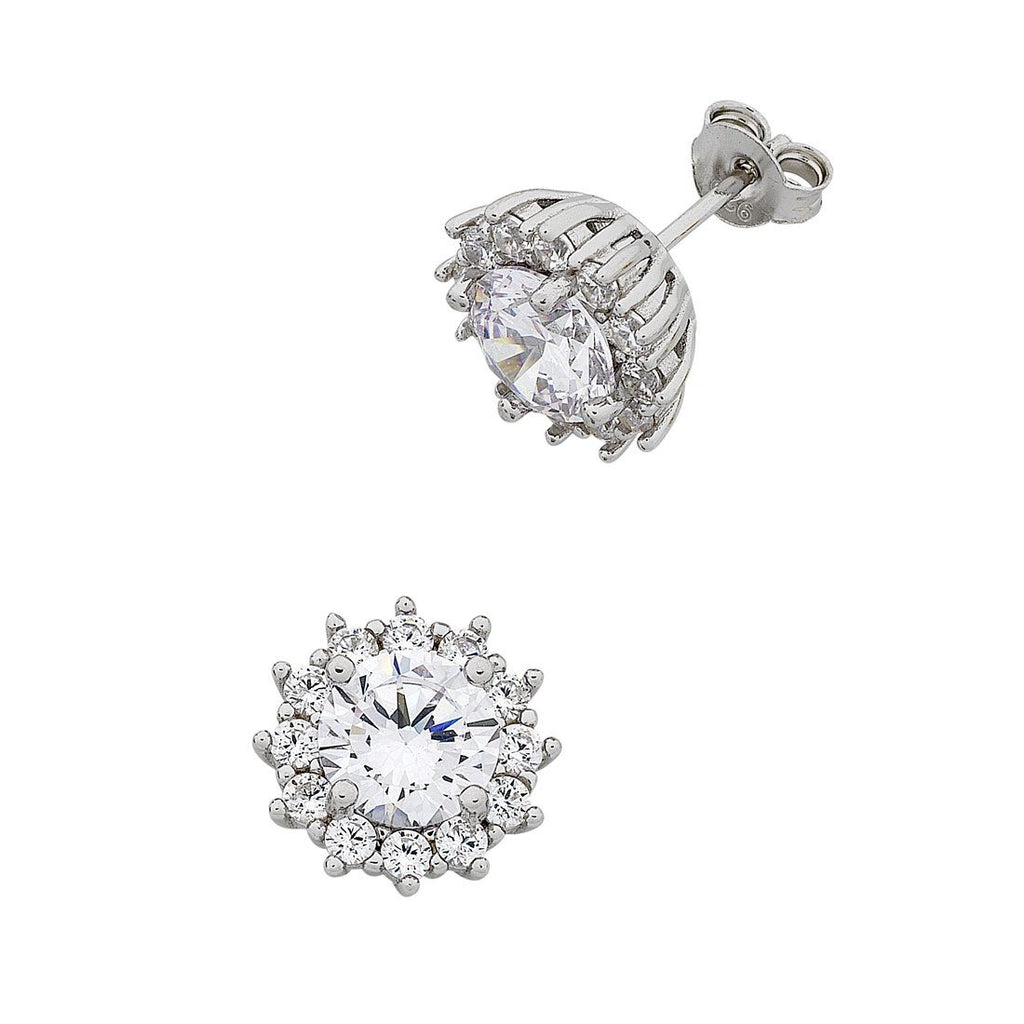 Sterling Silver Cubic Zirconia Halo Surround Earrings Earrings Bevilles