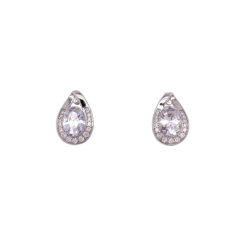 Sterling Silver Cubic Zirconia Pear Halo Earrings