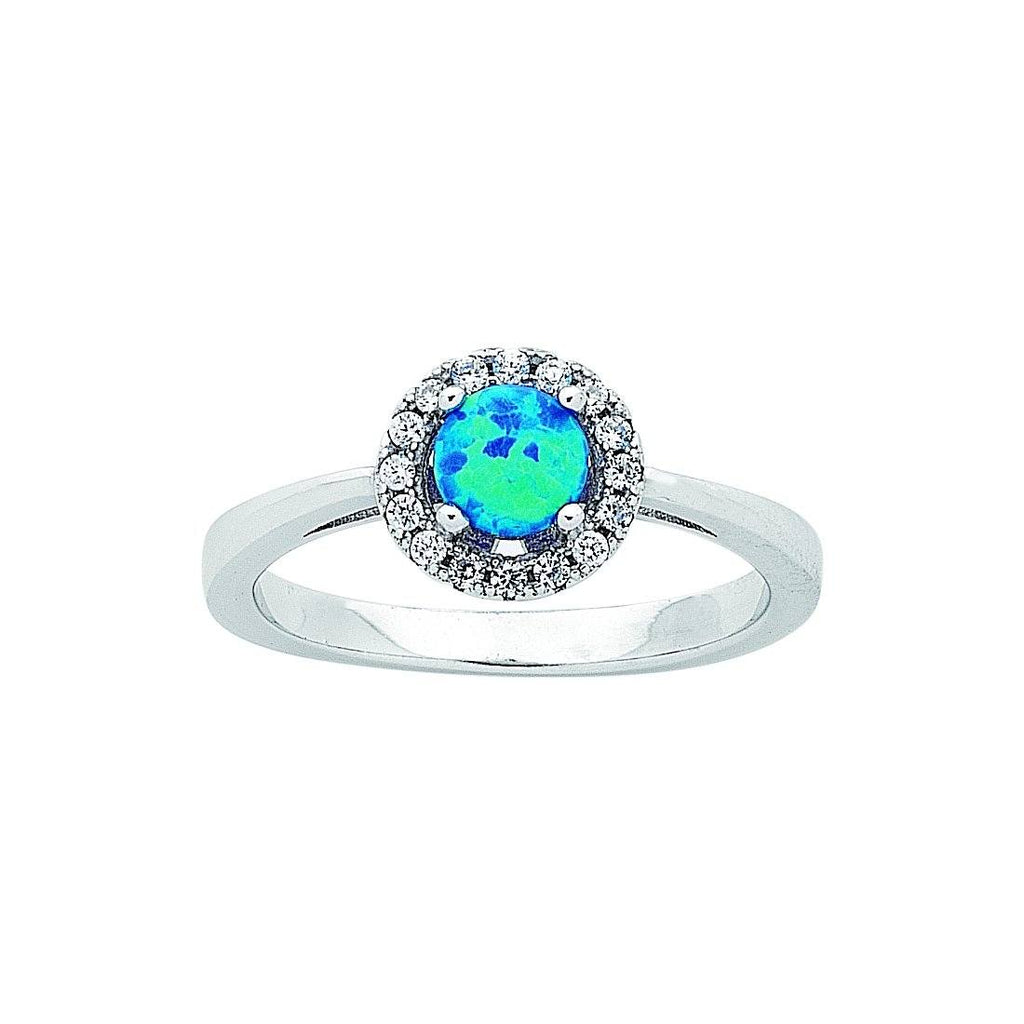 Sterling Silver Round Synthetic Blue Opal Ring Rings Bevilles