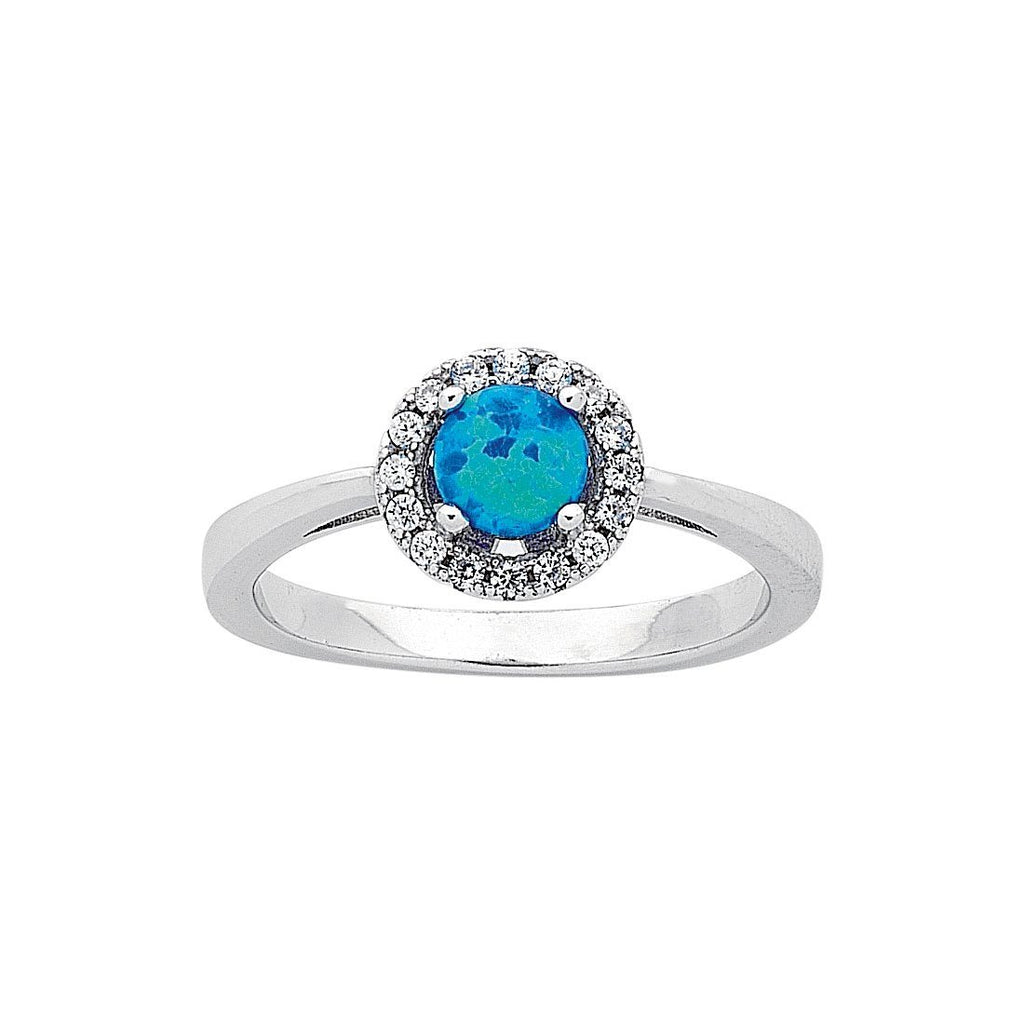 Sterling Silver Round Synthetic Blue Opal Ring