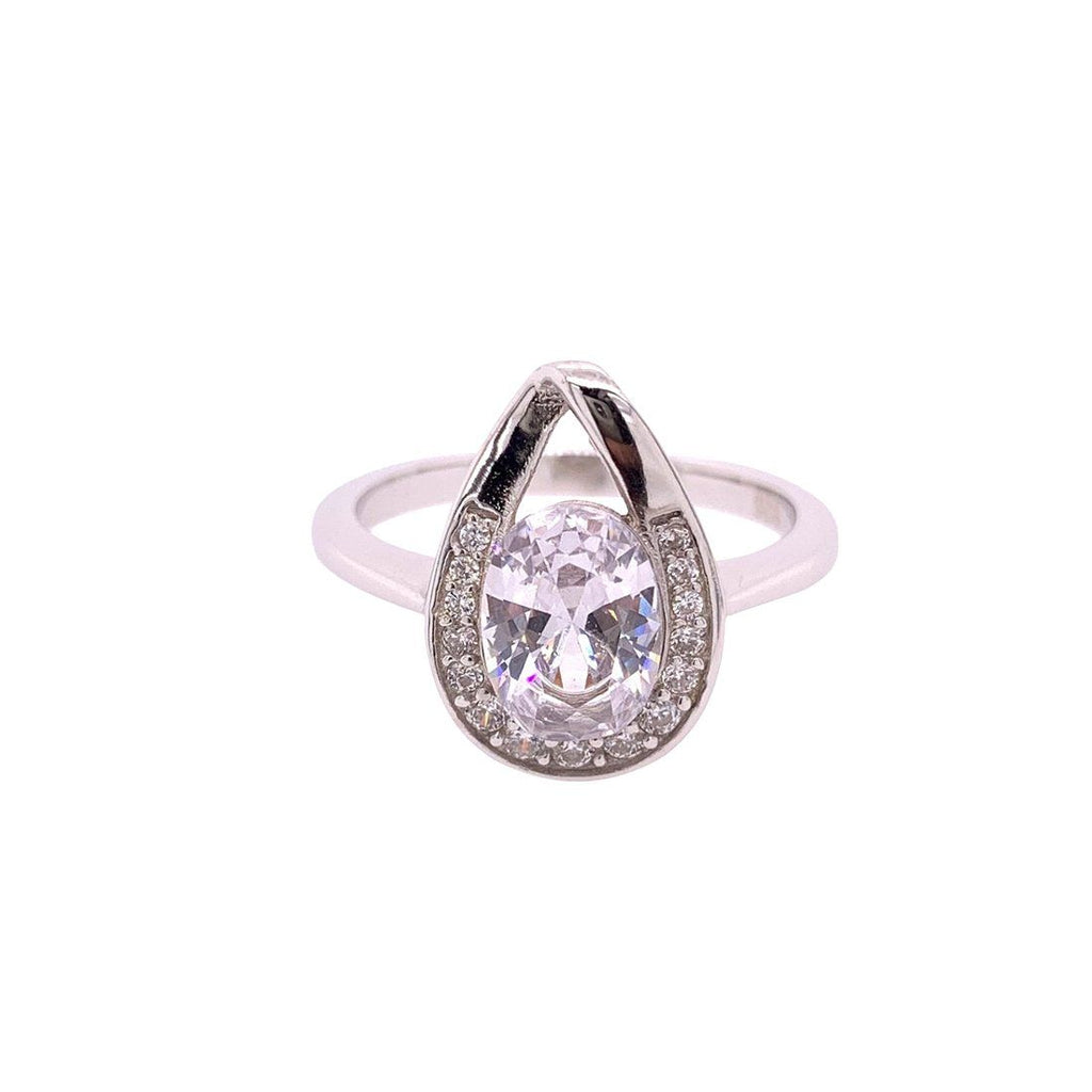 Sterling Silver Cubic Zirconia Pear Halo Ring Rings Bevilles