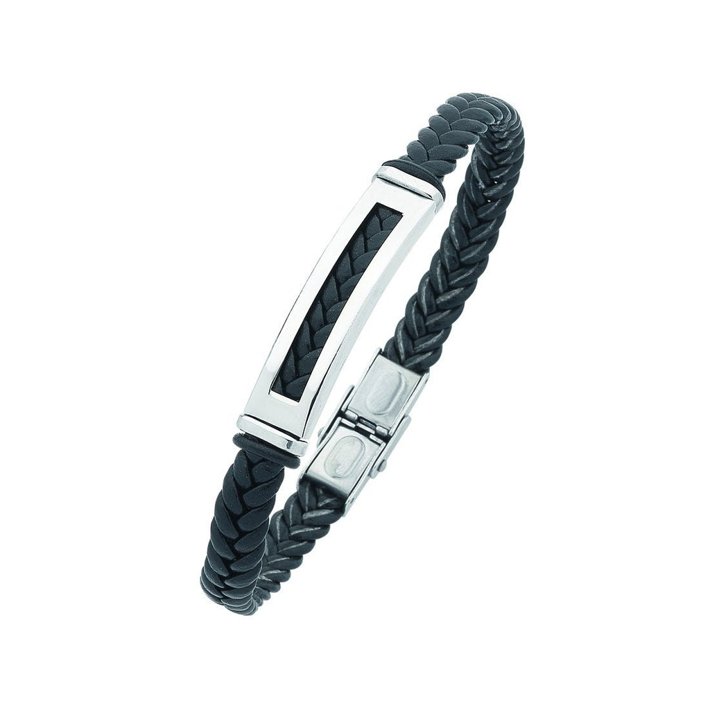 Stainless Steel Black Mens Braided Bracelet