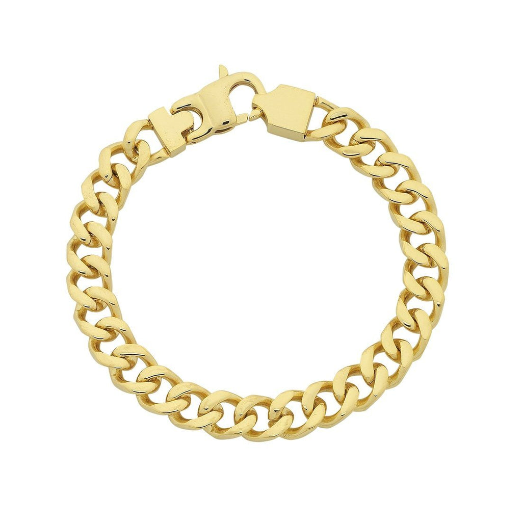 Stainless Steel Yellow Gold Curb Chain Bracelet Bracelets Bevilles