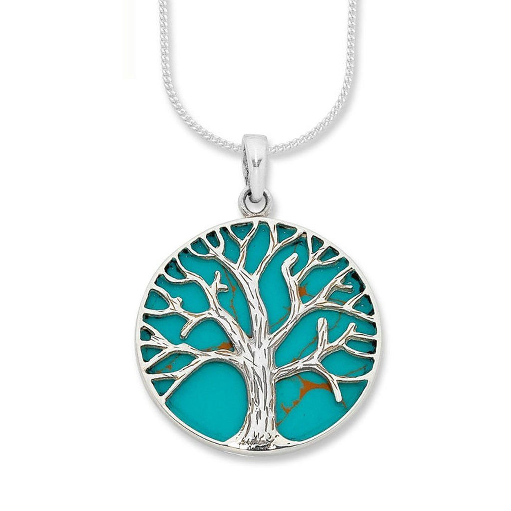 Sterling Silver Turquoise Tree of Life Necklace Necklaces Bevilles