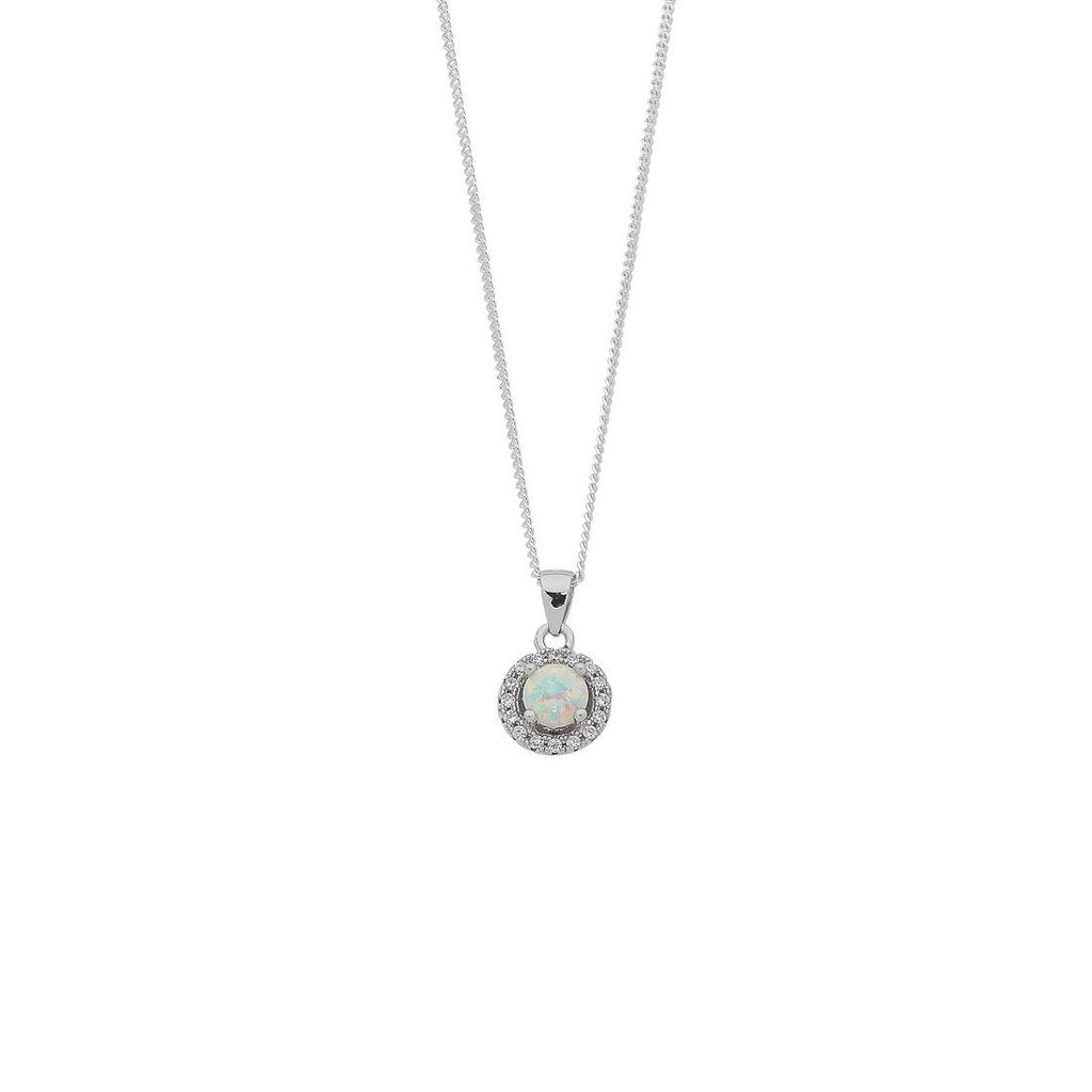 Sterling Silver Synthetic Opal and Cubic Zirconia Necklace