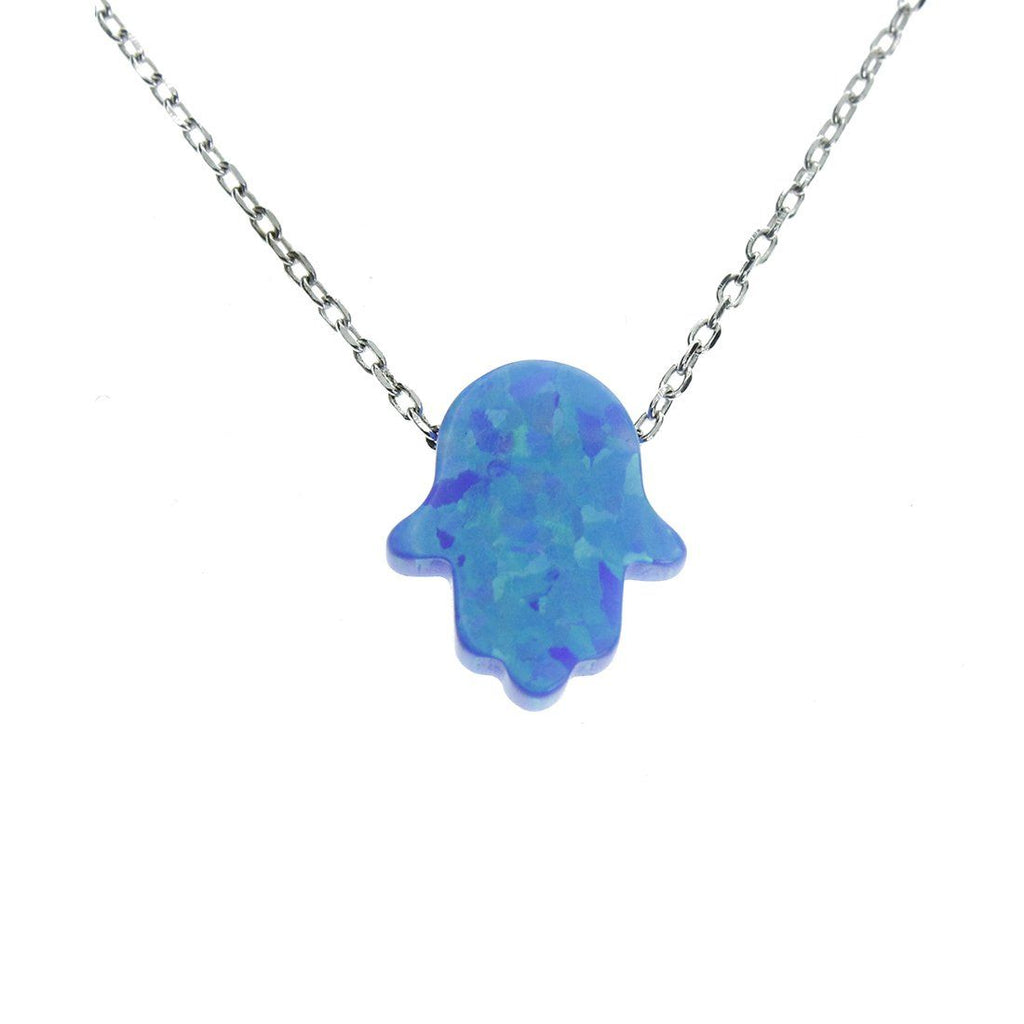 Sterling Silver Synthetic Blue Opal Hamsa Hand Necklace Necklaces Bevilles