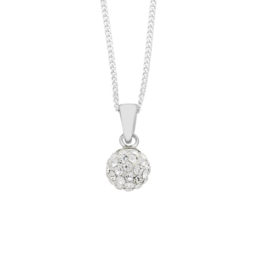 Sterling Silver Crystal Pave Ball Curb Necklace