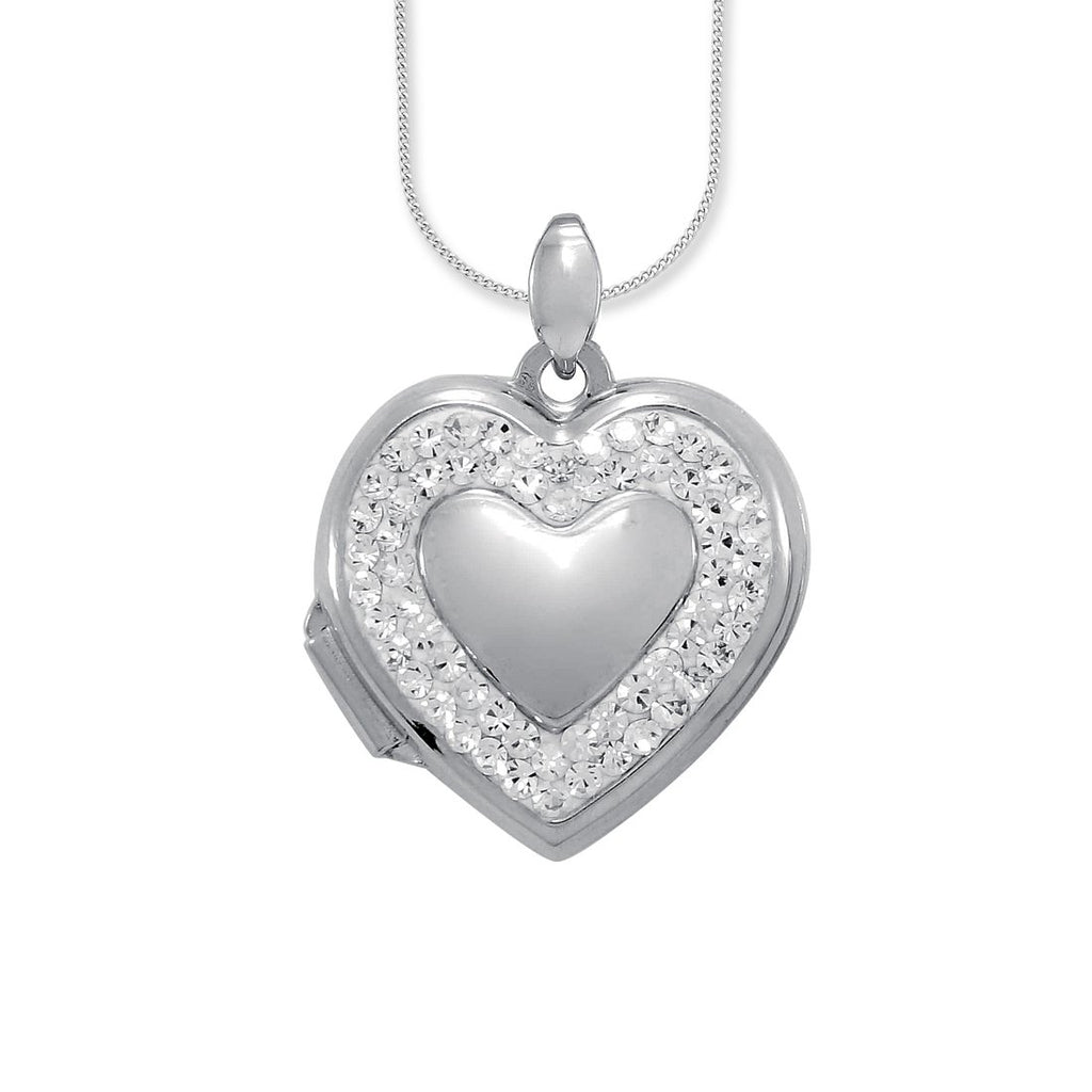 Sterling Silver Crystal Heart Locket Necklace Necklaces Bevilles