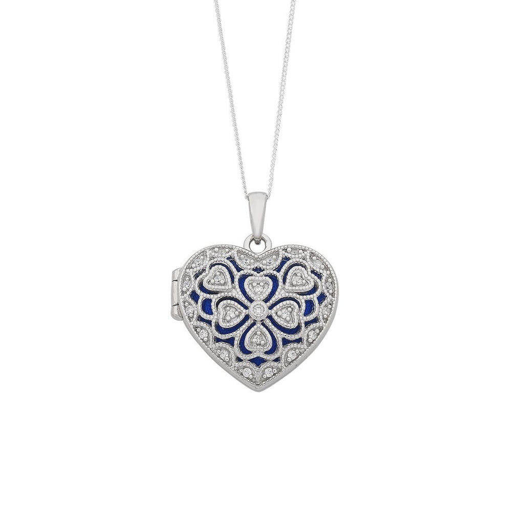 Sterling Silver Cubic Zirconia Heart Locket Necklace Necklaces Bevilles