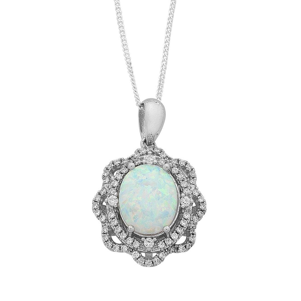 Sterling Silver Created Opal and Cubic Zirconia Necklace Necklaces Bevilles
