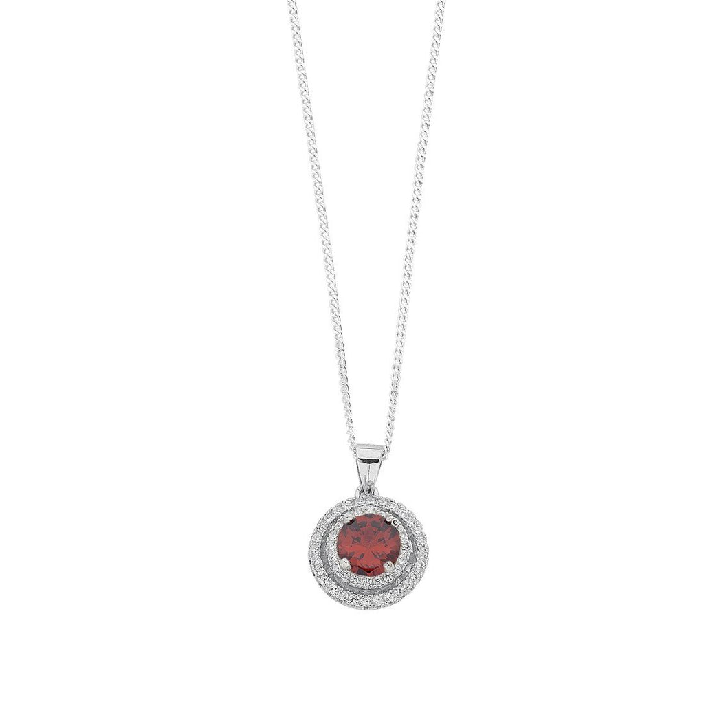 January Birthstone Sterling Silver Red Cubic Zirconia Halo Necklace Necklaces Bevilles