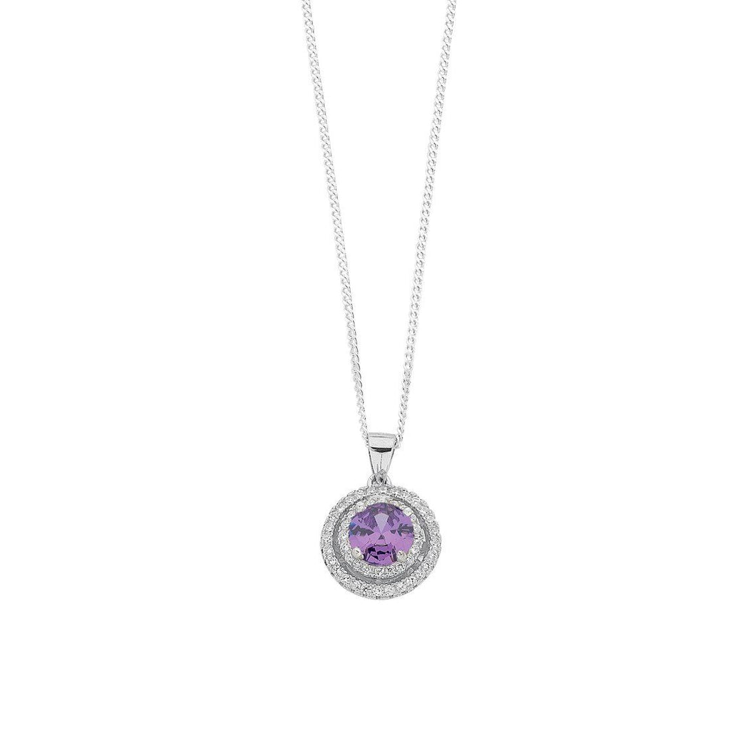 February Birthstone Sterling Silver Purple Cubic Zirconia Halo Necklace Necklaces Bevilles