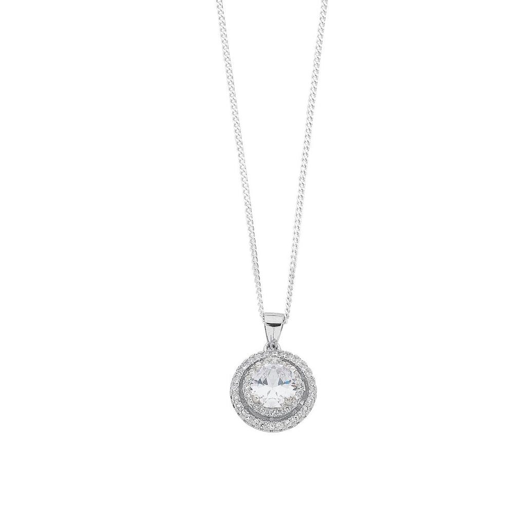 April Birthstone Sterling Silver White Cubic Zirconia Halo Necklace Necklaces Bevilles