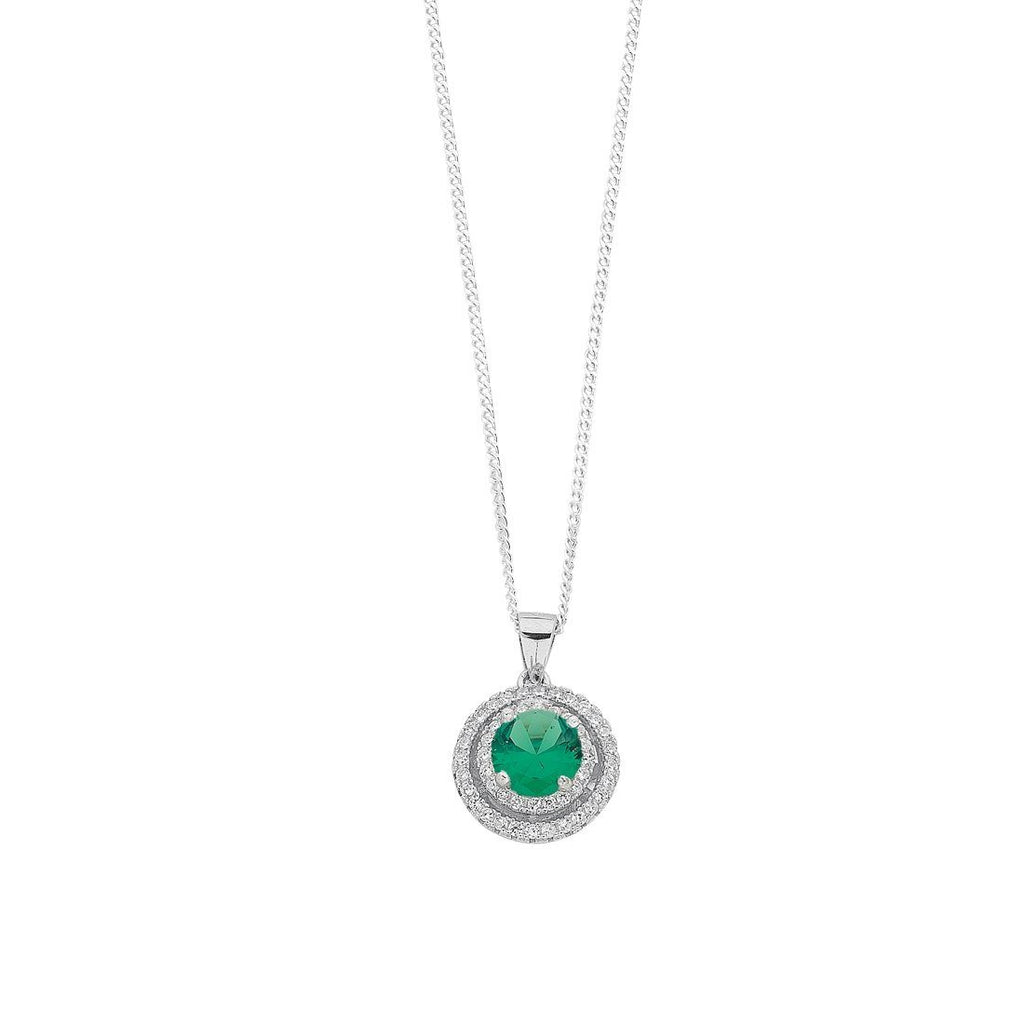 May Birthstone Sterling Silver Green Cubic Zirconia Halo Necklace Necklaces Bevilles