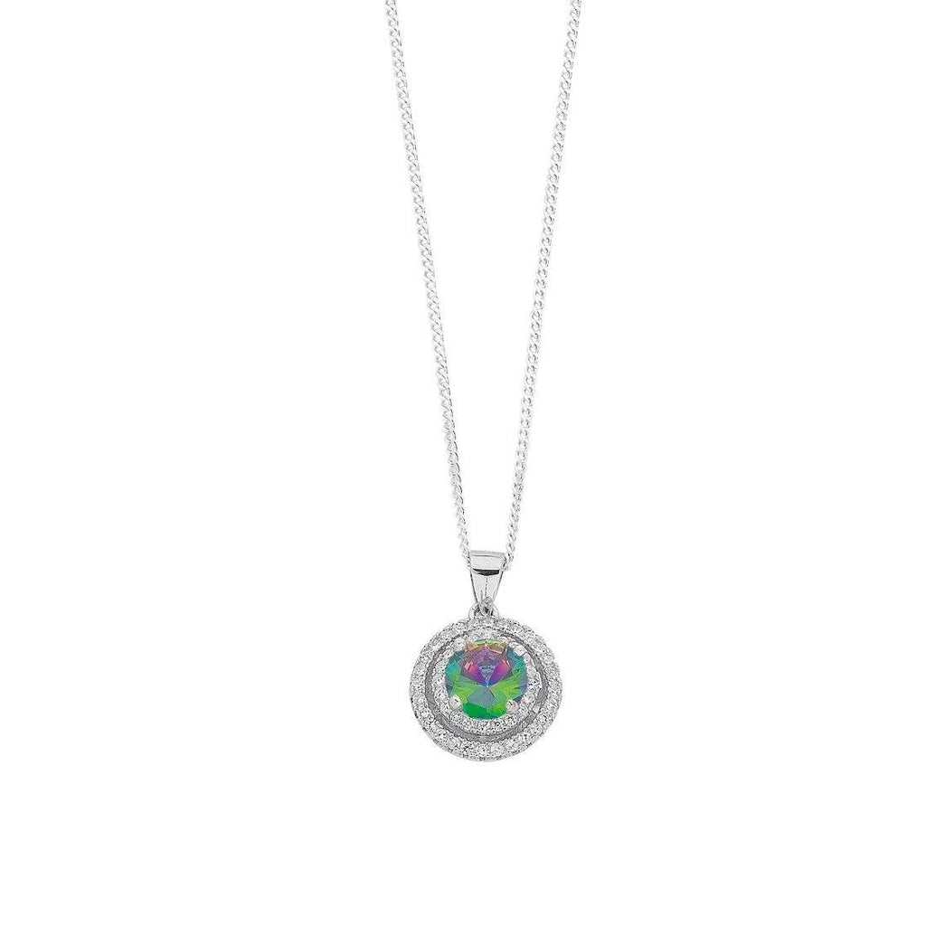 June Birthstone Sterling Silver Mystic Cubic Zirconia Halo Necklace Necklaces Bevilles