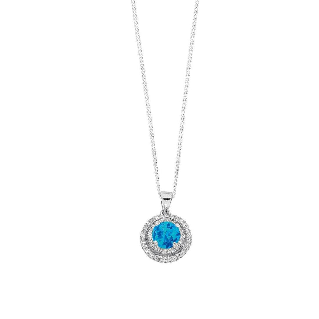 December Birthstone Sterling Silver Synthetic Blue Opal & Cubic Zirconia Halo Necklace Necklaces Bevilles