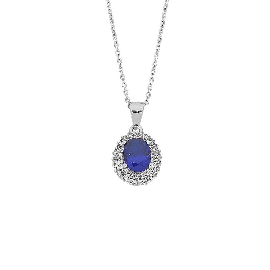 Sterling Silver Blue Cubic Zirconia Necklace Necklaces Bevilles