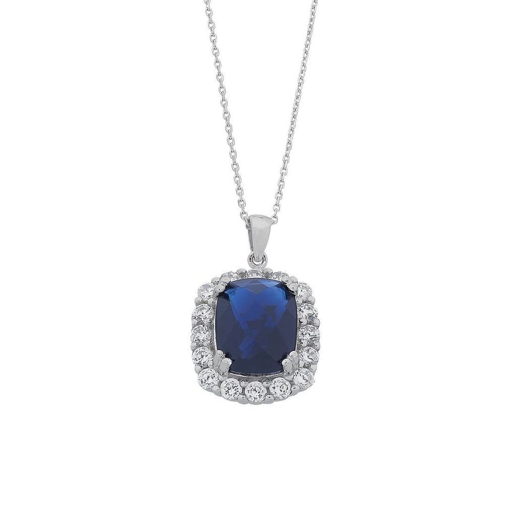 Sterling Silver Blue Oval Cubic Zirconia Necklace Necklaces Bevilles