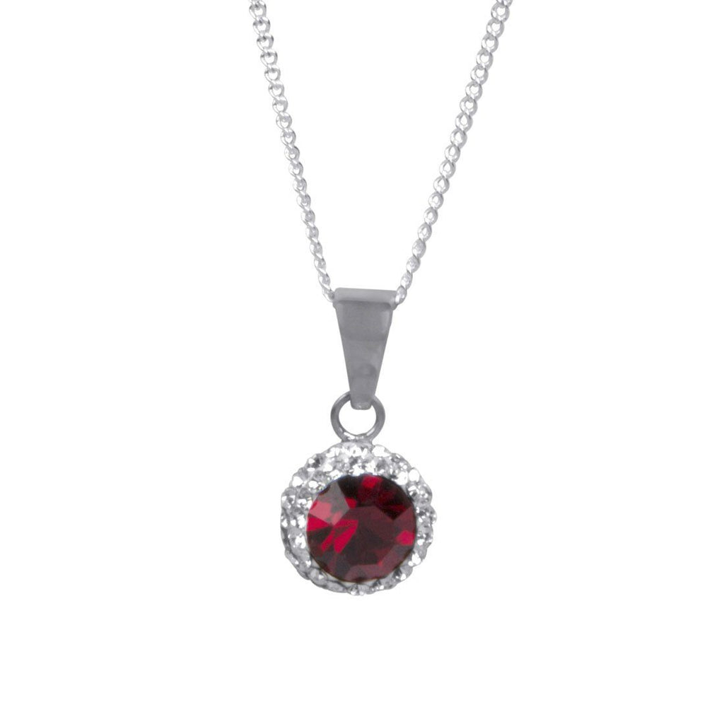 Sterling Silver Red Crystal January Birthstone Necklace Necklaces Bevilles