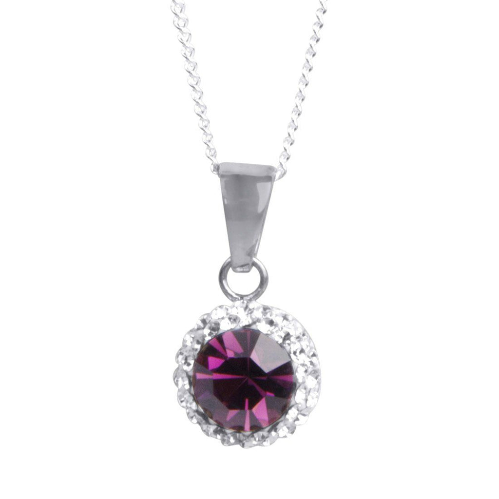 Sterling Silver Purple Crystal February Birthstone Necklace Necklaces Bevilles