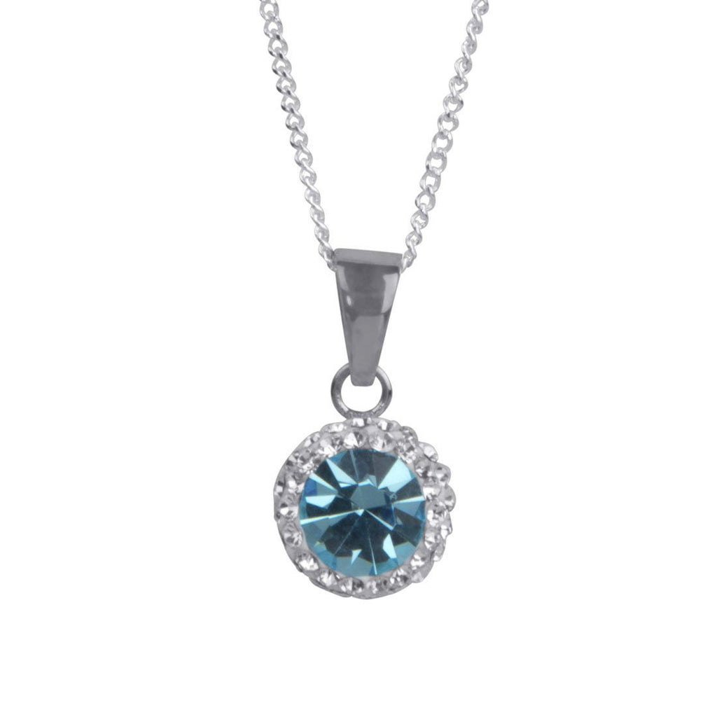 Sterling Silver Light Blue Crystal March Birthstone Necklace Necklaces Bevilles