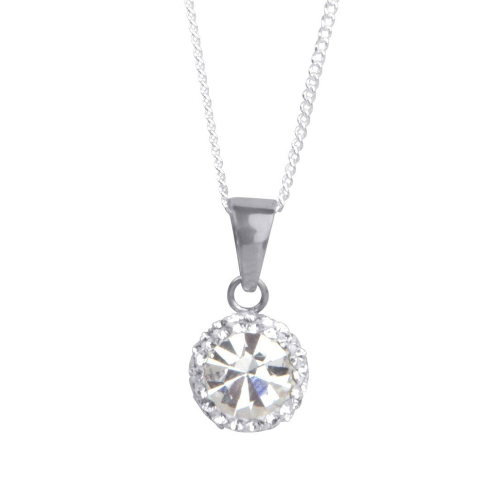 Sterling Silver White Crystal April Birthstone Necklace