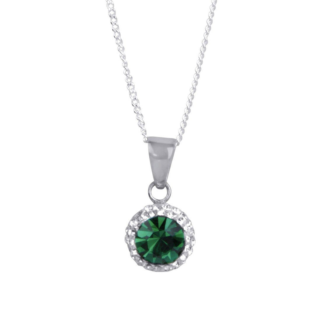 Sterling Silver Green Crystal May Birthstone Necklace Necklaces Bevilles