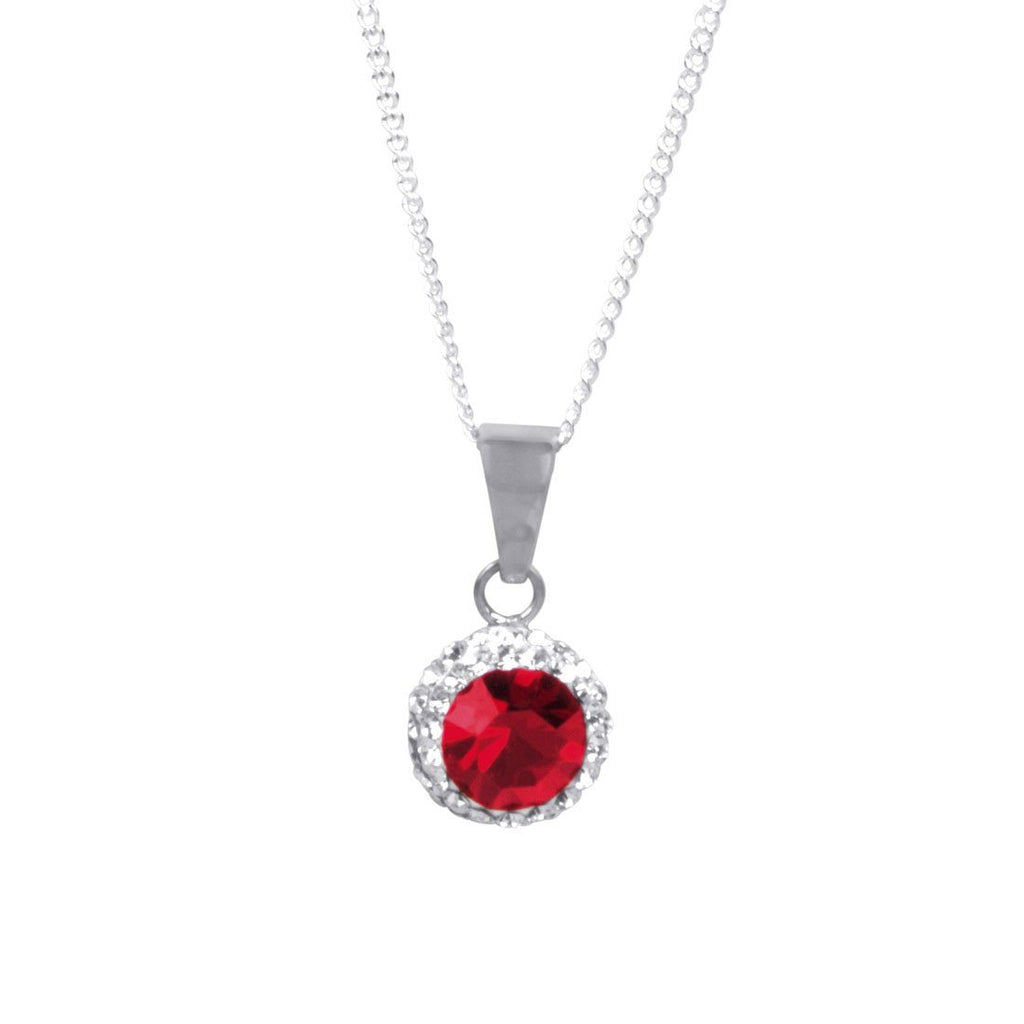 Sterling Silver Red Crystal July Birthstone Necklace Necklaces Bevilles