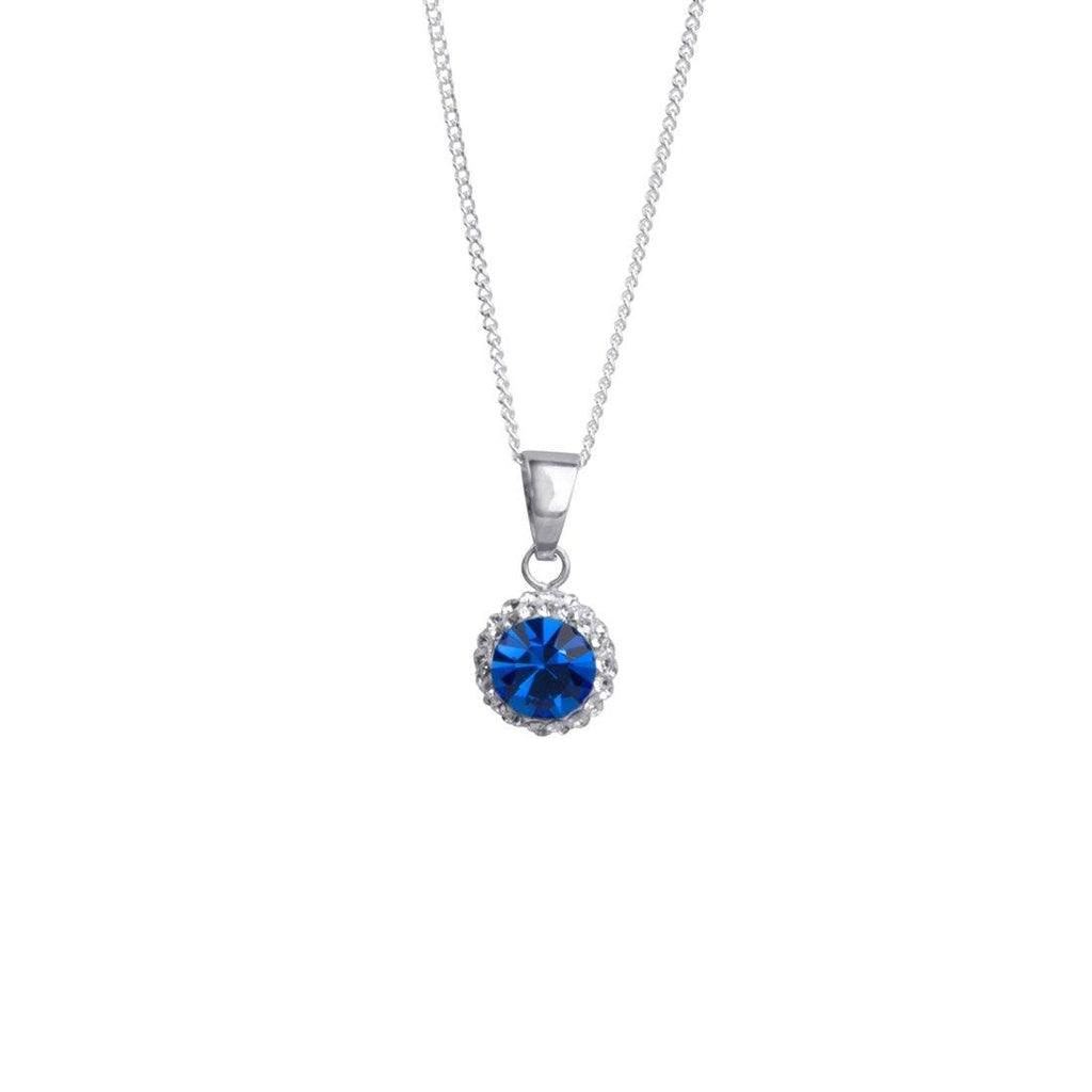 Sterling Silver Blue Crystal December Birthstone Necklace Necklaces Bevilles