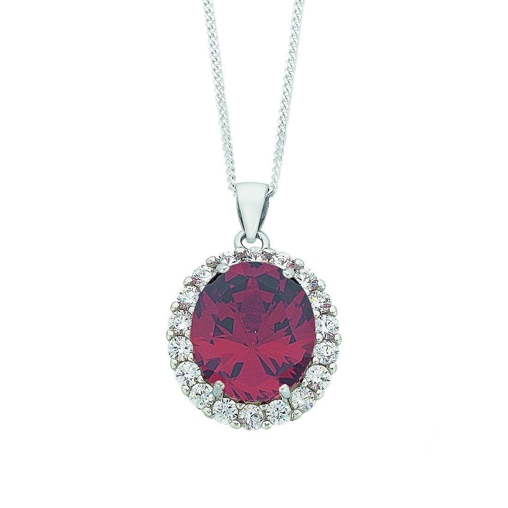 January Birthstone Sterling Silver Red Cubic Zirconia Necklace