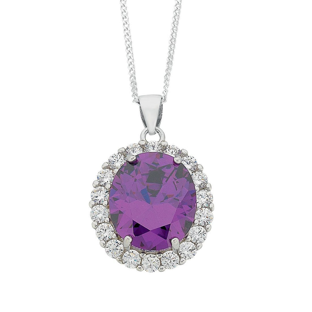 February Birthstone Sterling Silver Purple Cubic Zirconia Necklace Necklaces Bevilles