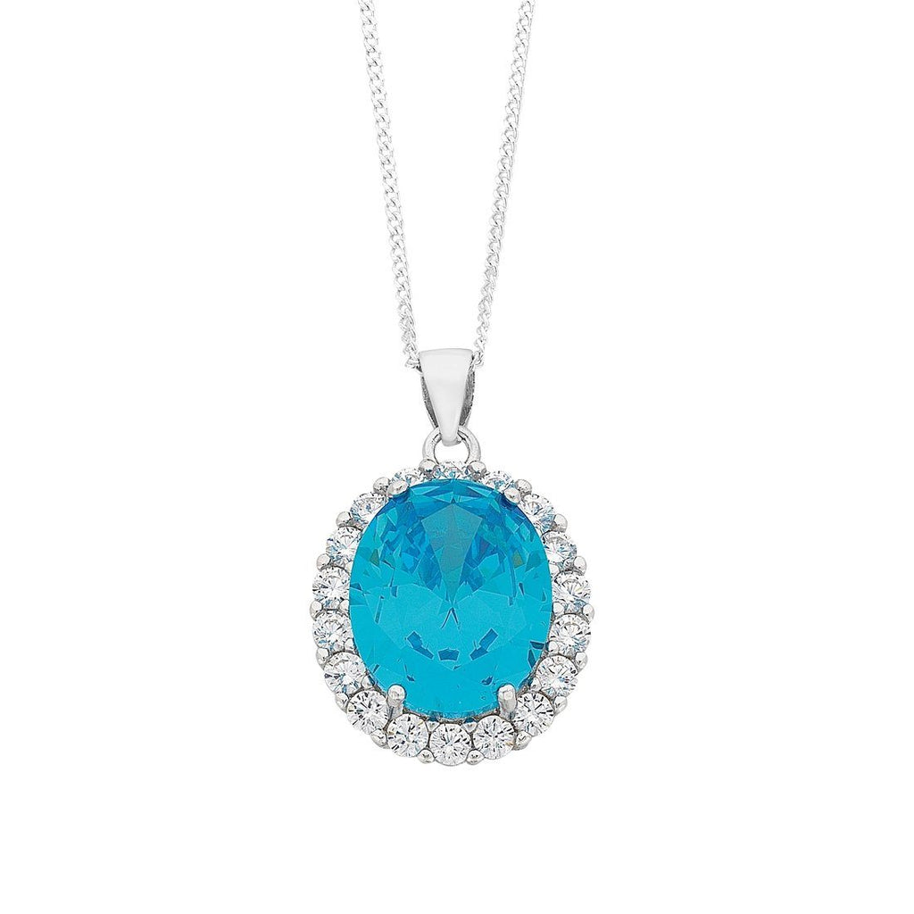 March Birthstone Sterling Silver Light Blue Cubic Zirconia Necklace Necklaces Bevilles