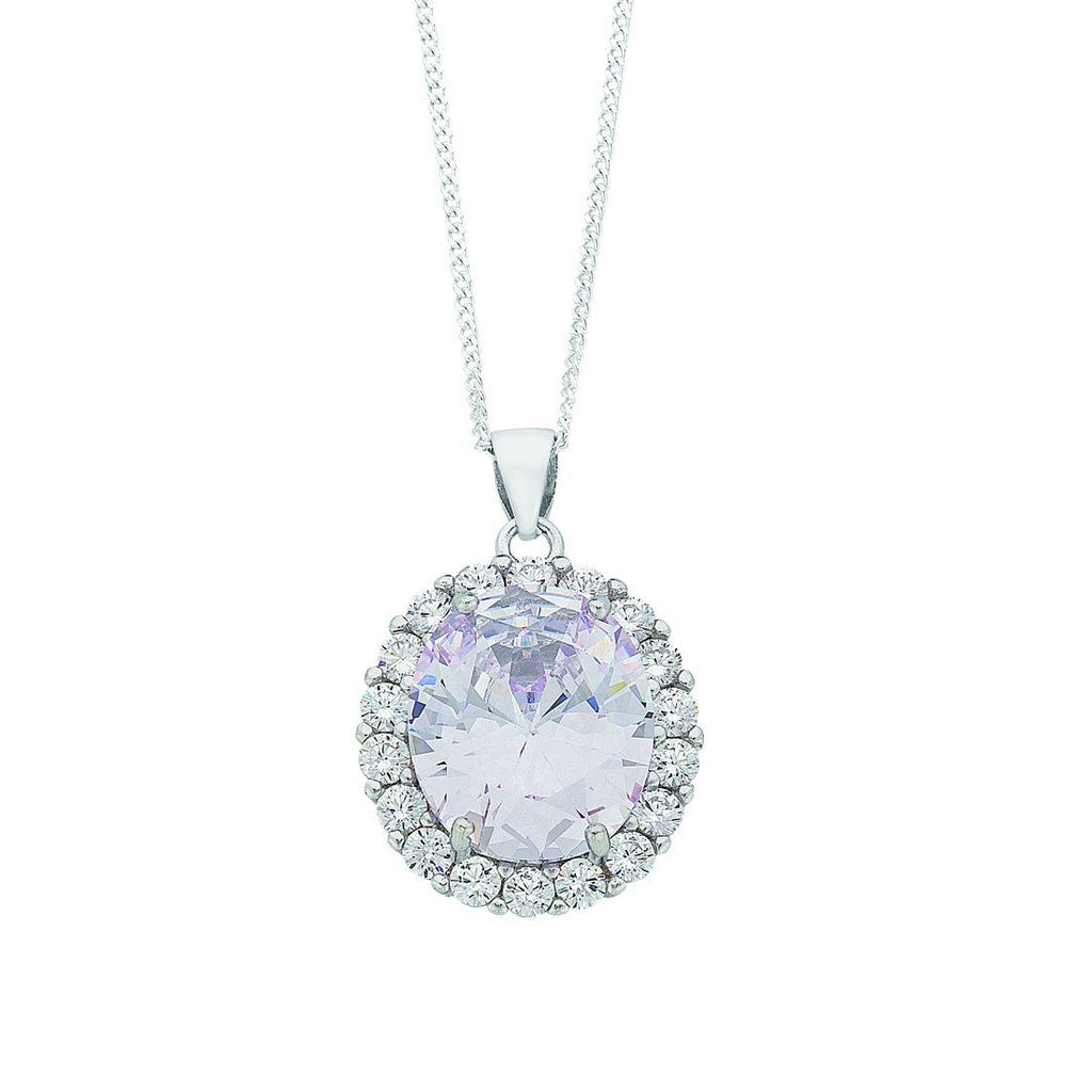 April Birthstone Sterling Silver Cubic Zirconia Necklace