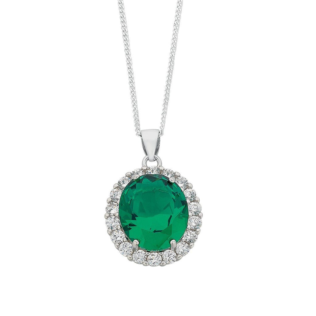 May Birthstone Sterling Silver Dark Green Cubic Zirconia Necklace