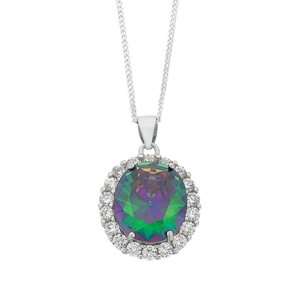 June Birthstone Sterling Silver Mystic Cubic Zirconia Necklace Necklaces Bevilles