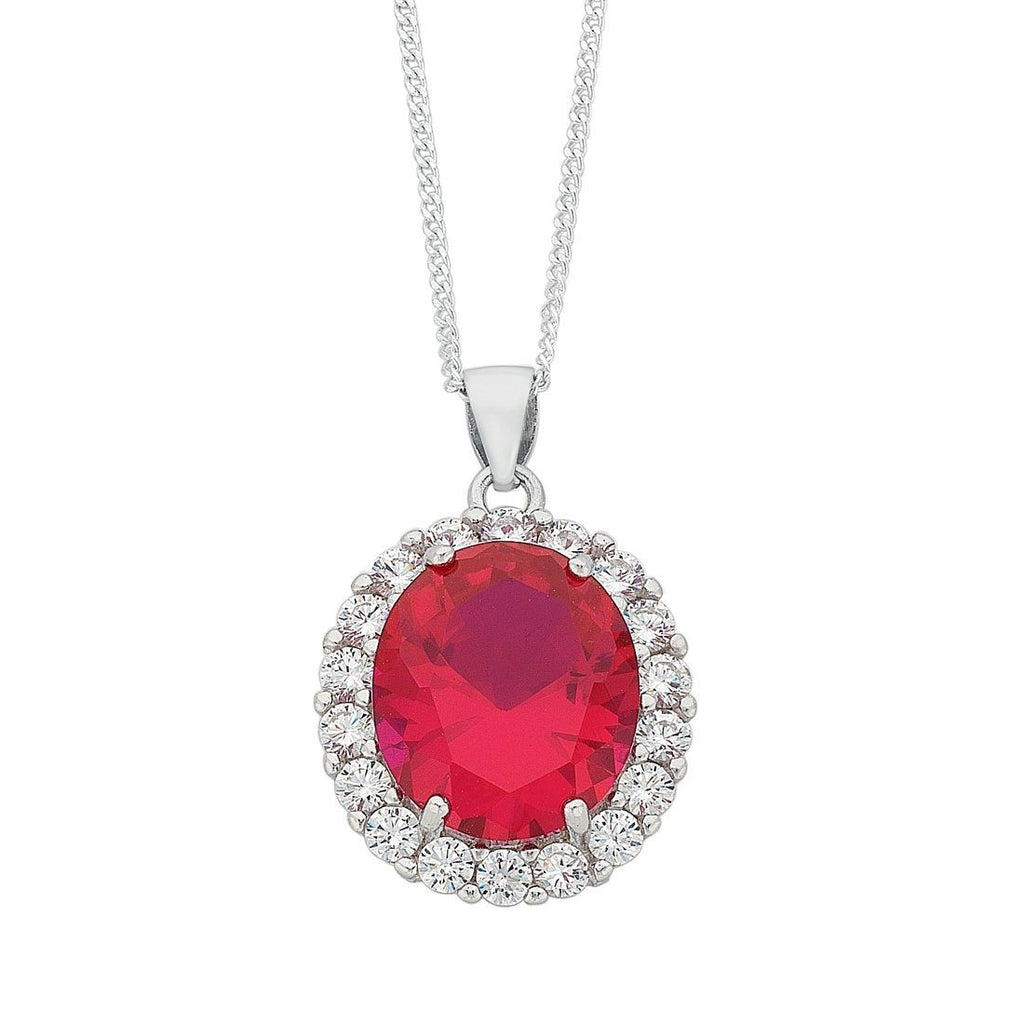 July Birthstone Sterling Silver Dark Pink Cubic Zirconia Necklace