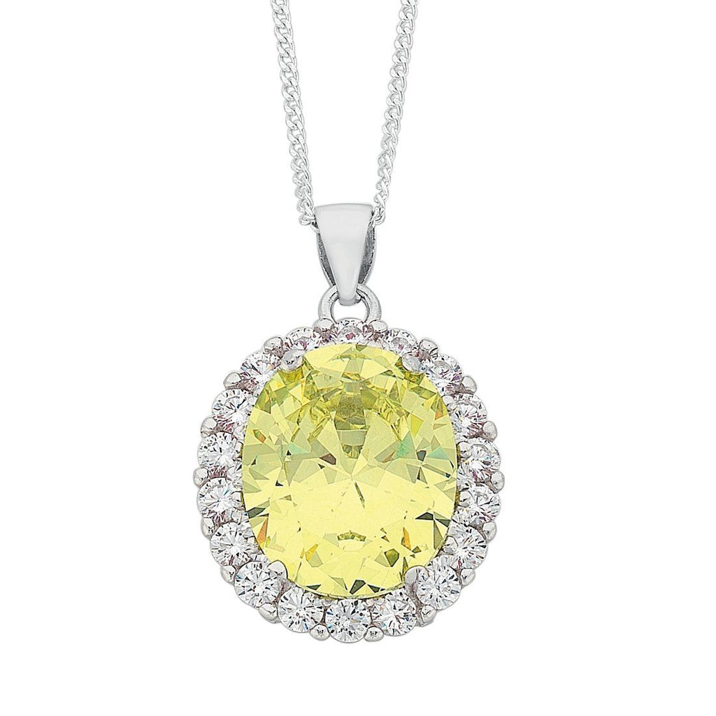 August Birthstone Sterling Silver Light Green Cubic Zirconia Necklace