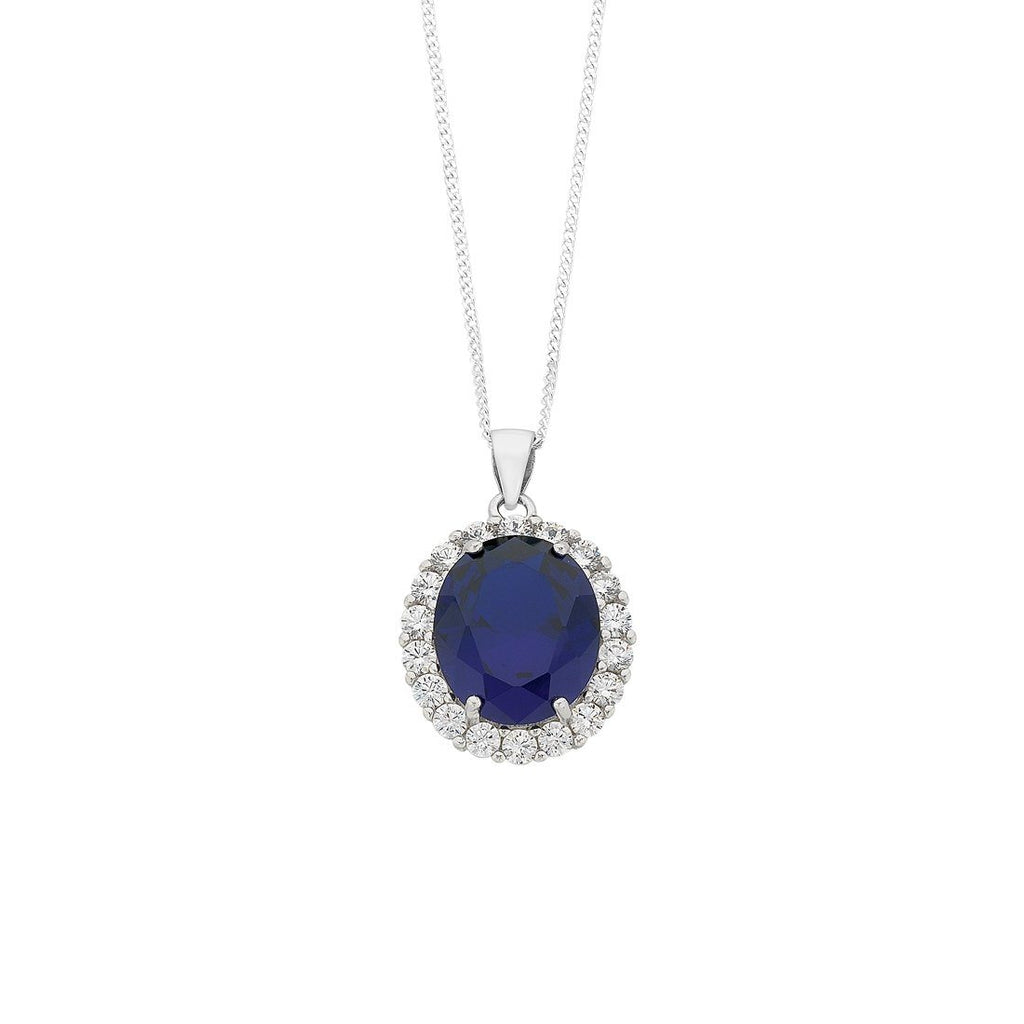 September Birthstone Sterling Silver Dark Blue Cubic Zirconia Necklace Necklaces Bevilles