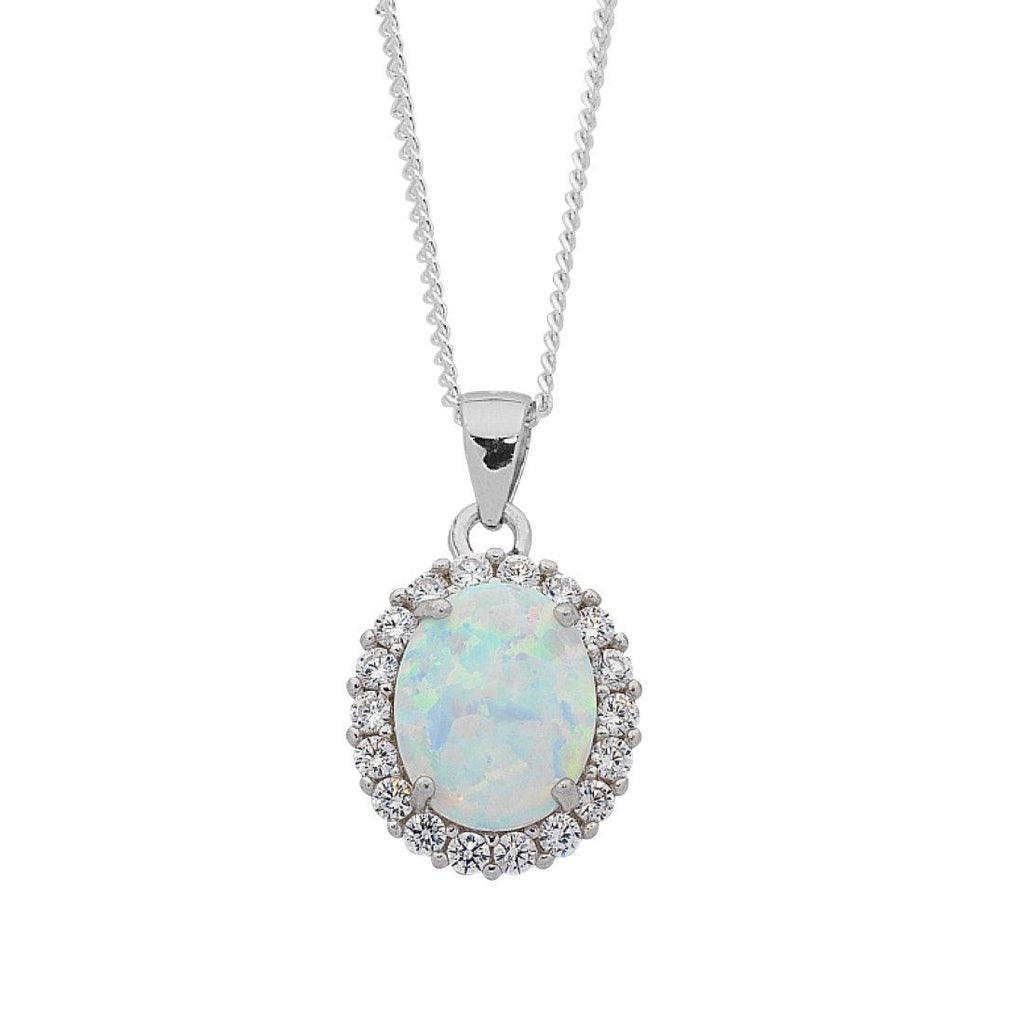 October Birthstone Sterling Silver Oval Synthetic Opal and Cubic Zirconia Necklace Necklaces Bevilles