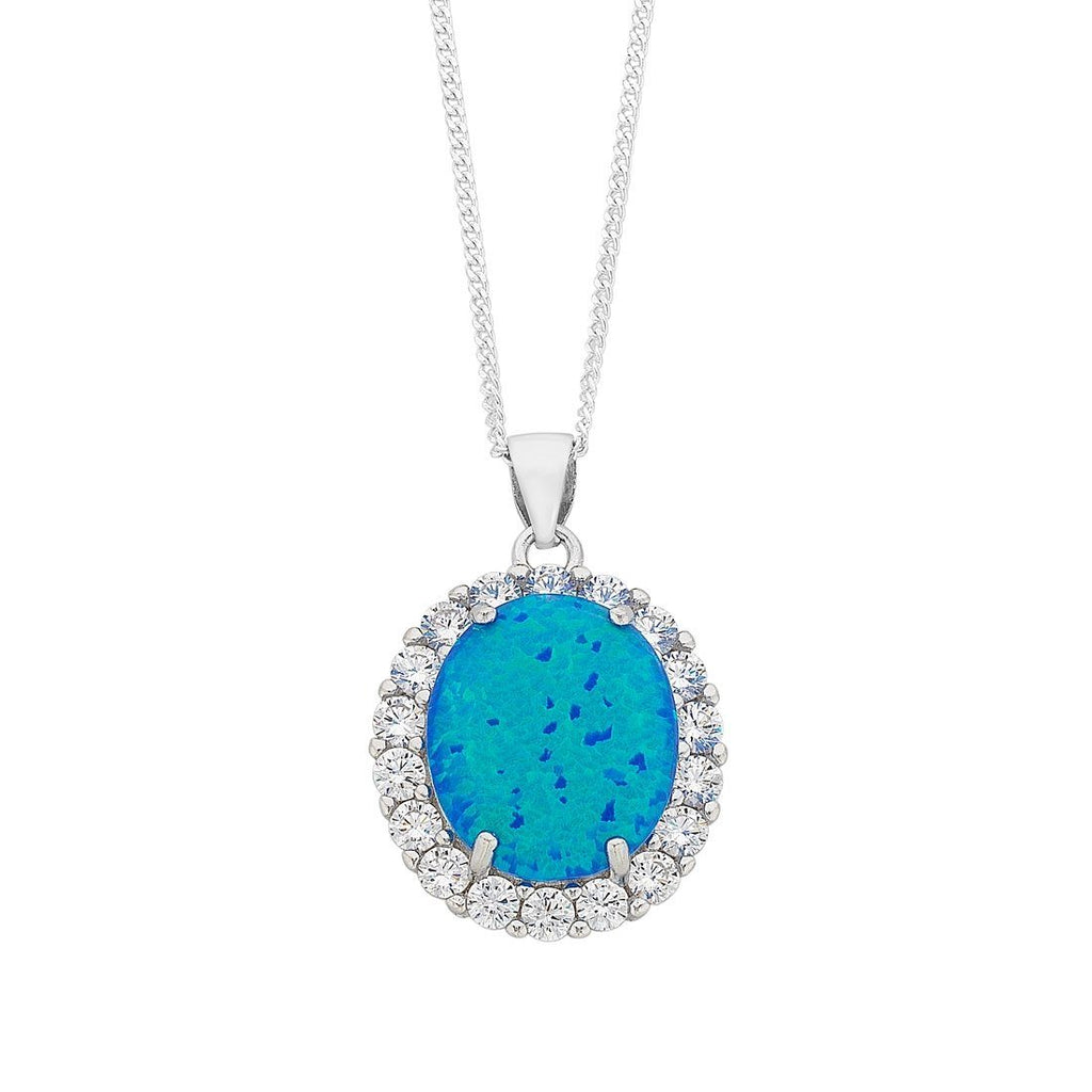 December Birthstone Sterling Silver Dark Blue Synthetic Opal and Cubic Zirconia Necklace