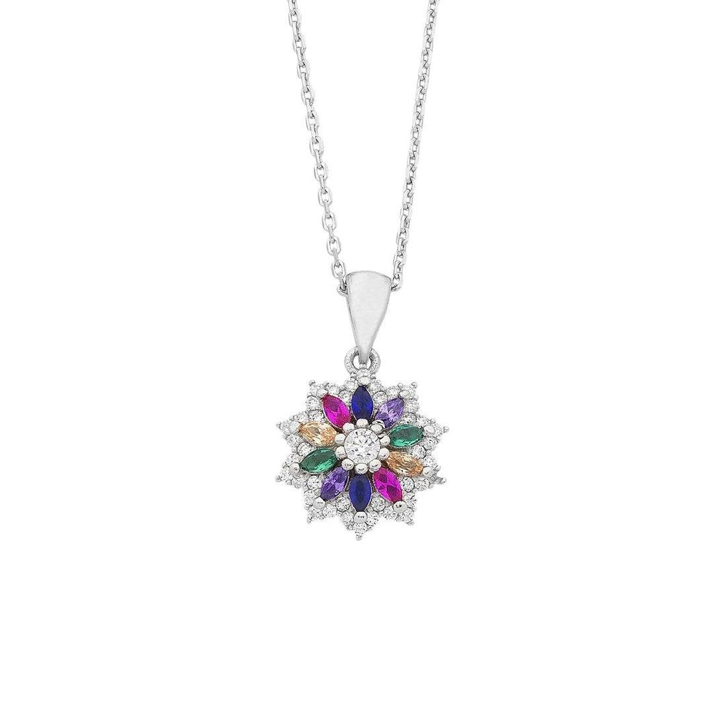Sterling Silver Multi Coloured Cubic Zirconia Flower Necklace