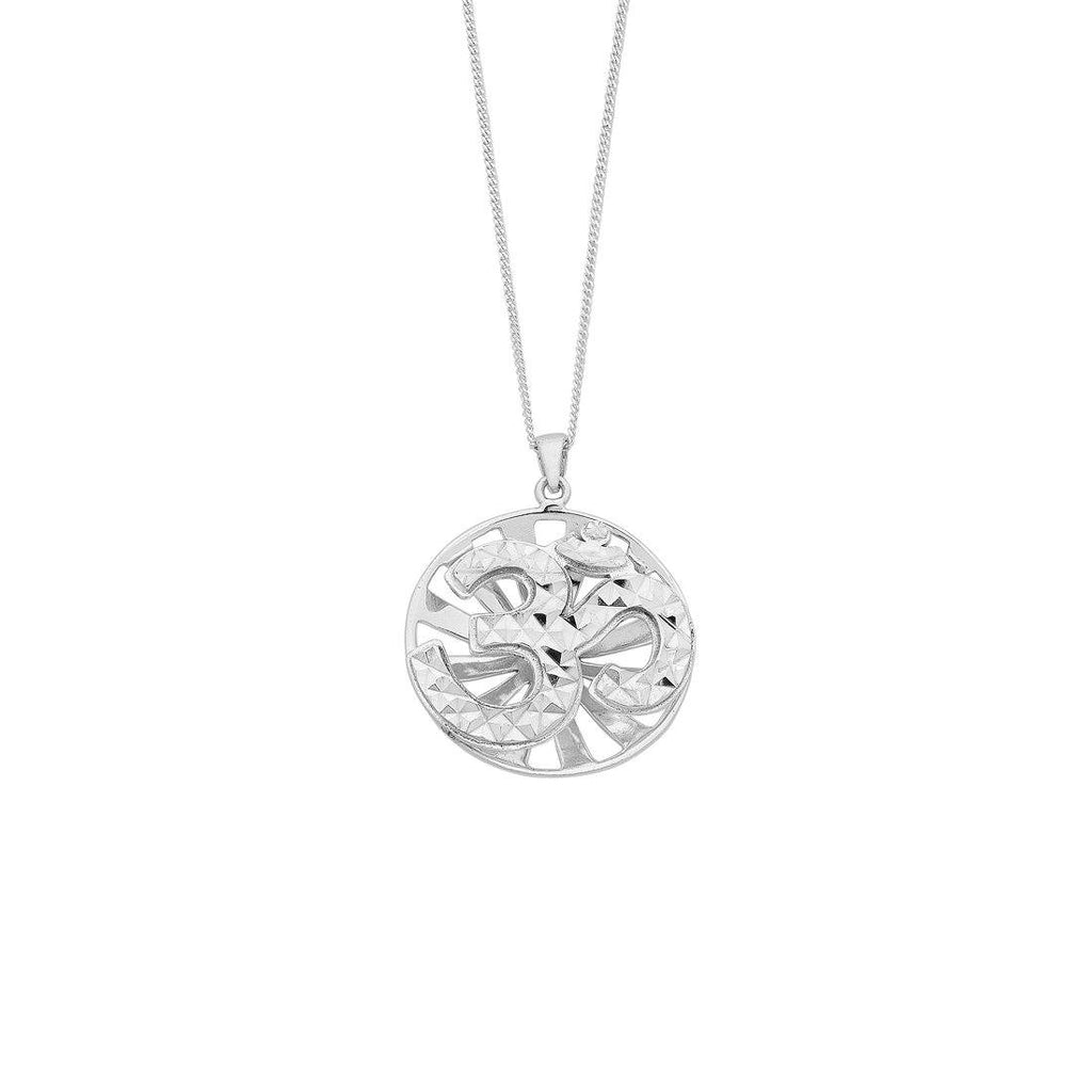 Sterling Silver Diamond Cut 'OM' Disc Necklace Necklaces Bevilles