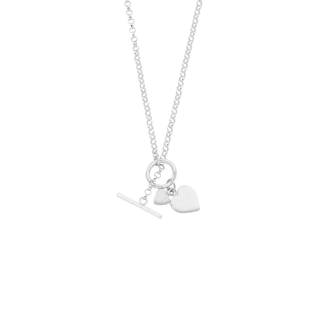 Sterling Silver Heart Charm Toggle Belcher Necklace