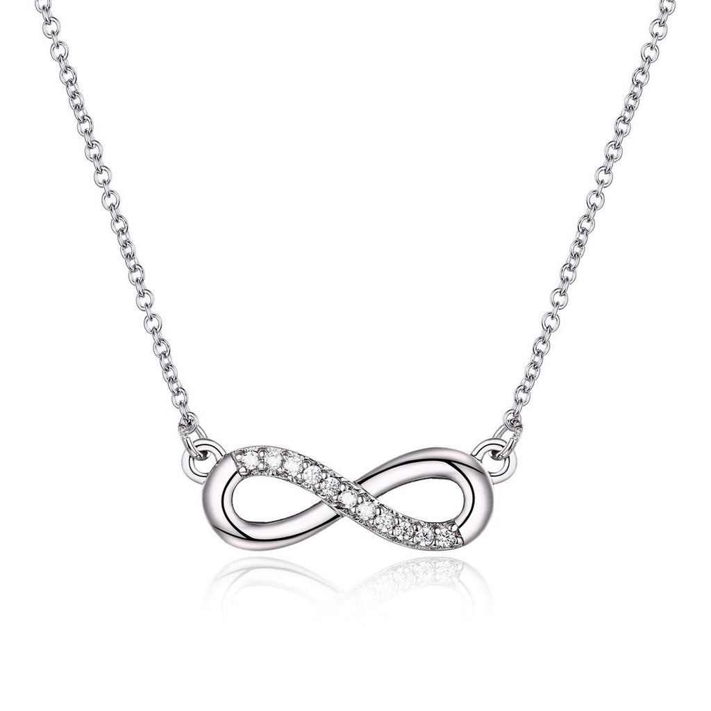Sterling Silver Cubic Zirconia Set Infinity Necklace