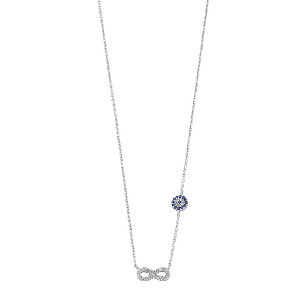 Sterling Silver Cubic Zirconia Infinity and Evil Eye Necklace Necklaces Bevilles