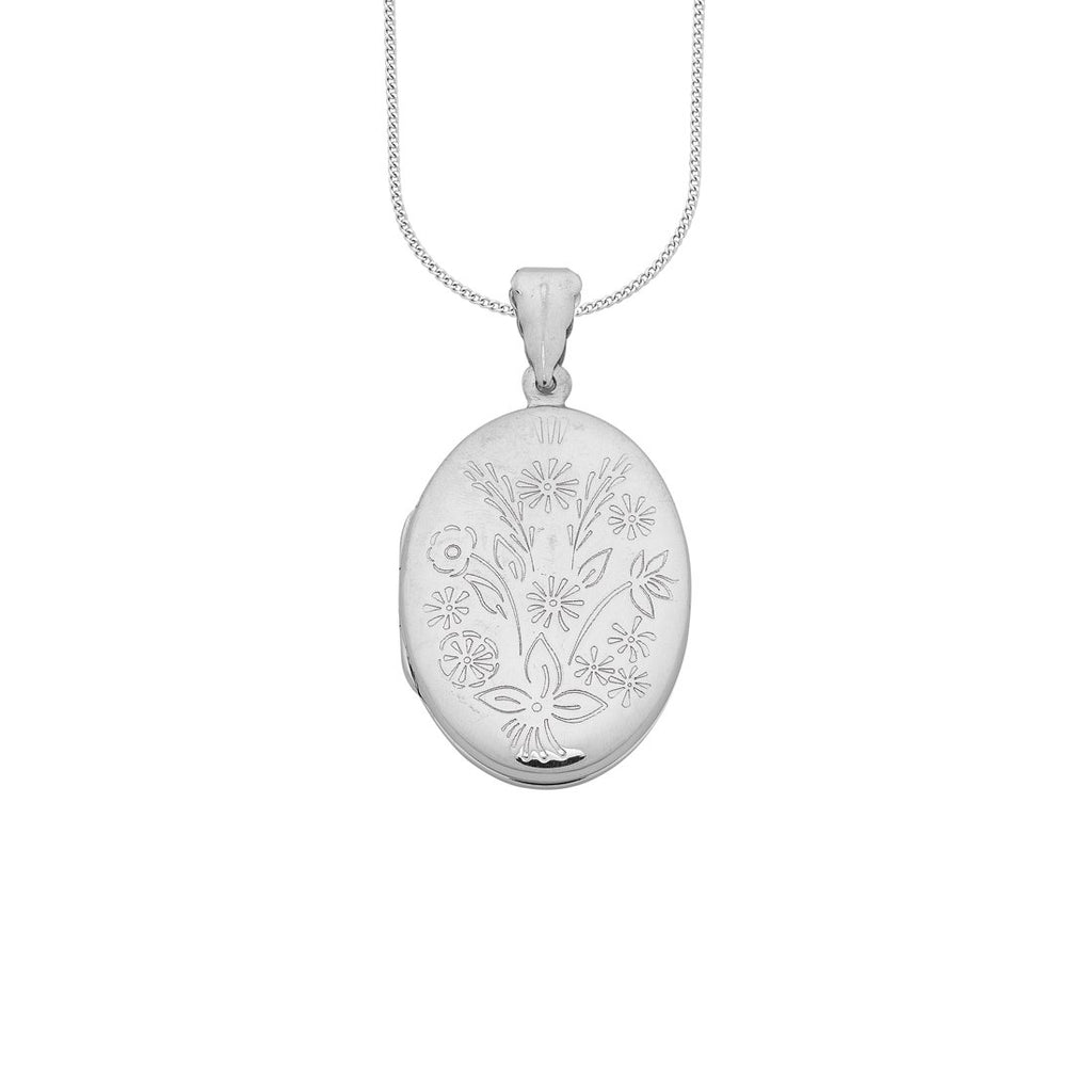 Sterling Silver Flower Engraved Oval Locket Necklace