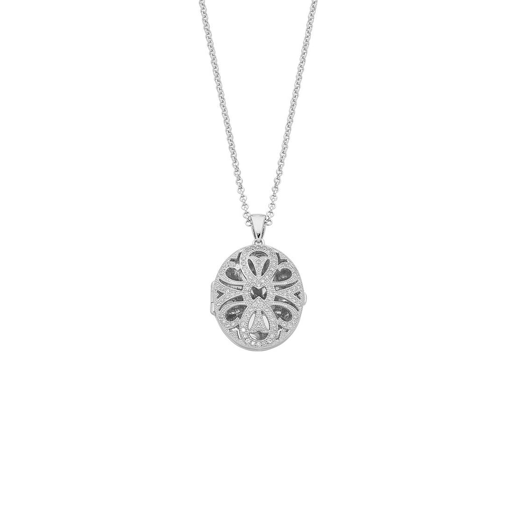Sterling Silver and Cubic Zirconia Oval Locket Necklaces Bevilles