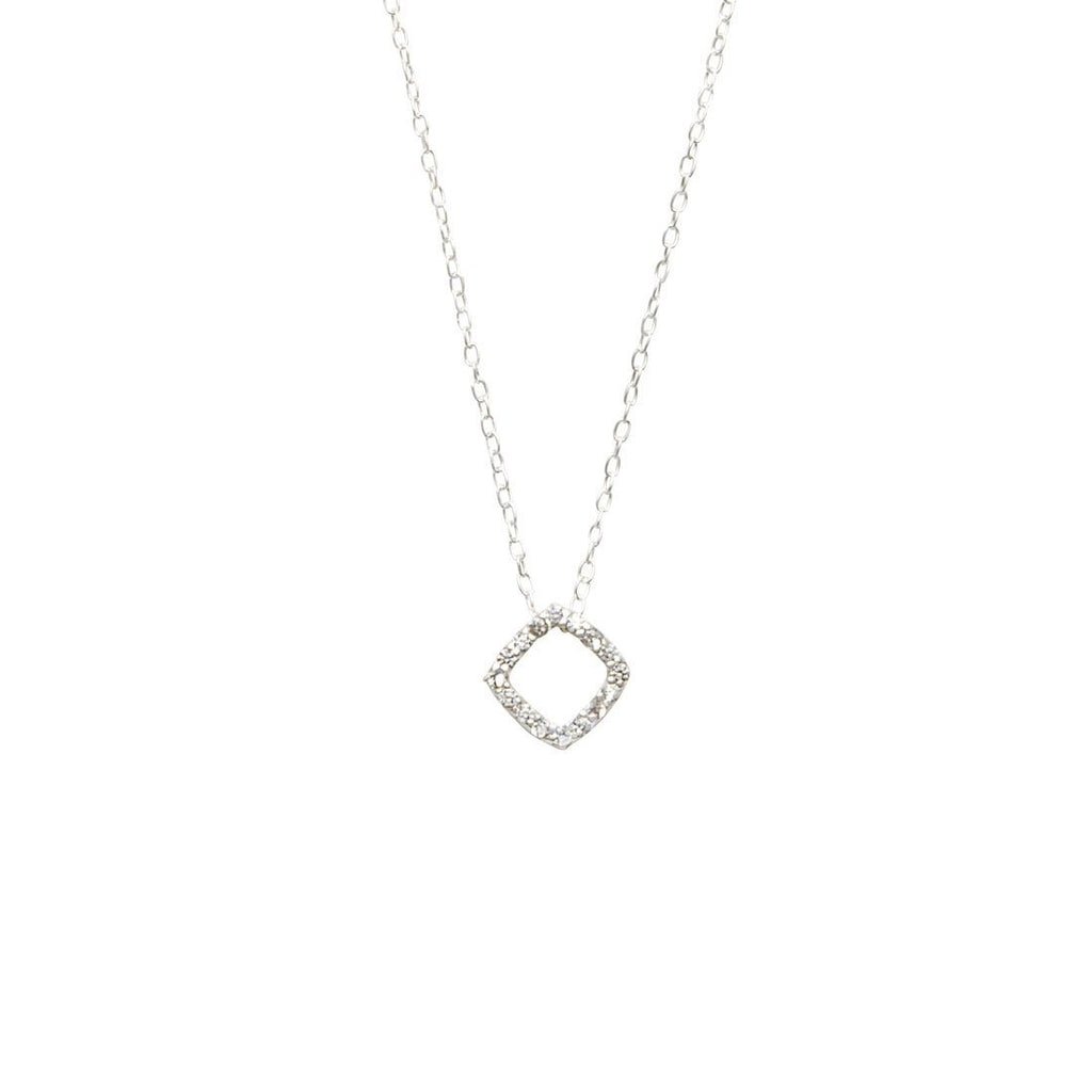 Sterling Silver Cubic Zirconia Open Square Necklace Necklaces Bevilles